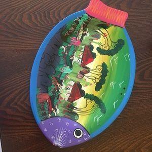 VTG hand painted terra-cotta fish plate art wall